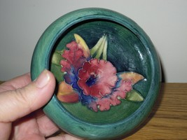 Vintage Moorcroft England Green Art Pottery Porcelain Bowl Dish With Orc... - $49.99