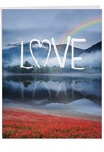 """WORDSCAPES' Happy Valentine's Day Greeting Card Love and Rainbow (8.5"""" x... - $12.19"""