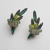 Lovely Vintage D&E Juliana Emerald Peridot Navettes Leaves Crystals Earr... - $39.59