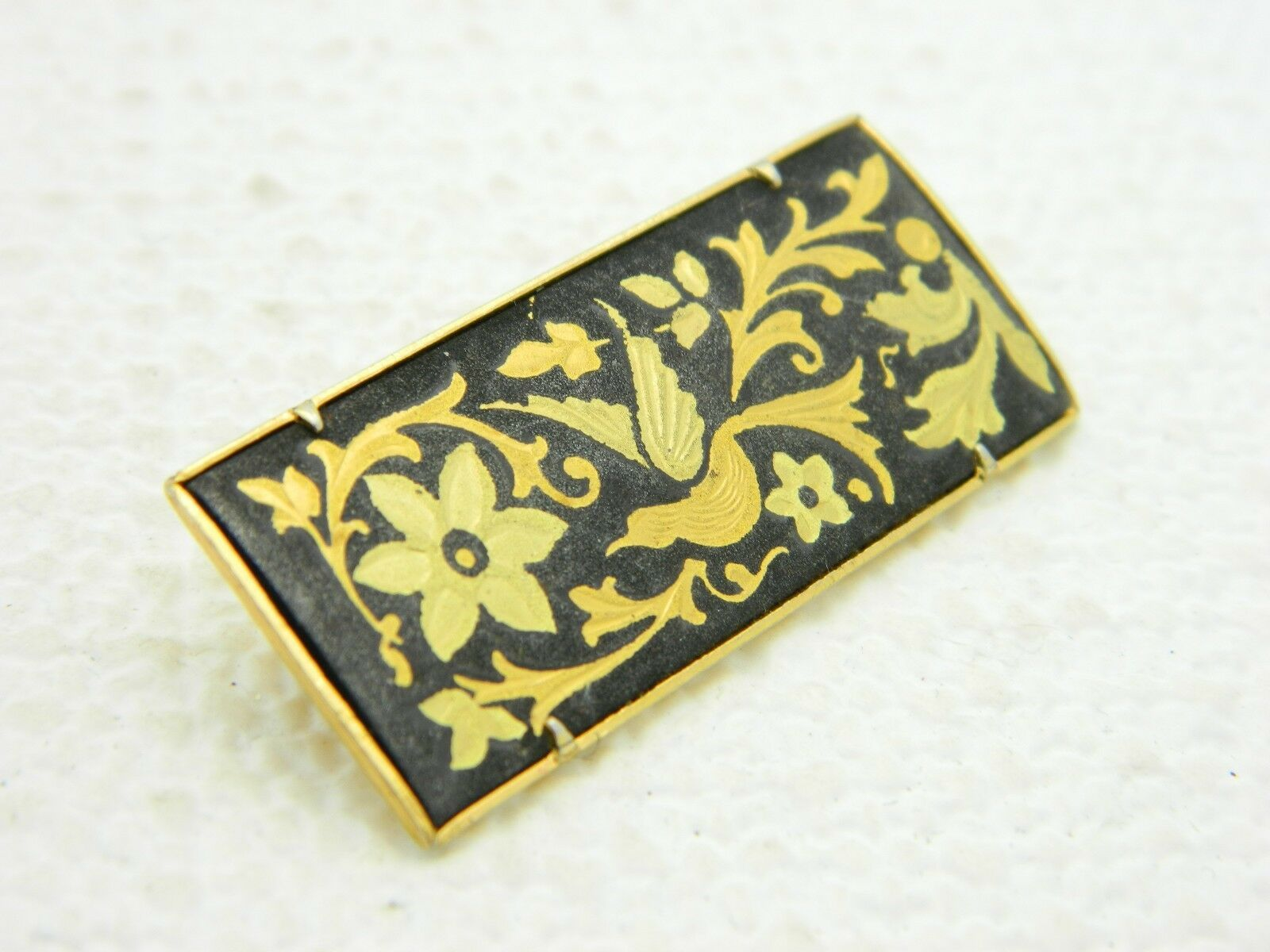 VTG 1940s Gold Tone Damascene Floral Bird Pin Brooch Trombone Clasp image 2