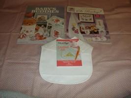 Baby Bib Cross Stitch 2 Pattern Books And 1 Baby Bib - $16.99