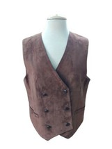 TALBOTS Brown Suede Leather w/ Real Pockets Button Up Vest Women's Size ... - $29.70