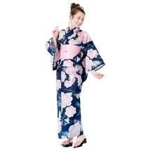 Ariel Navy Yukata And Obi Set Japanese Cotton Kimono For Summer Disney Japan - $175.00