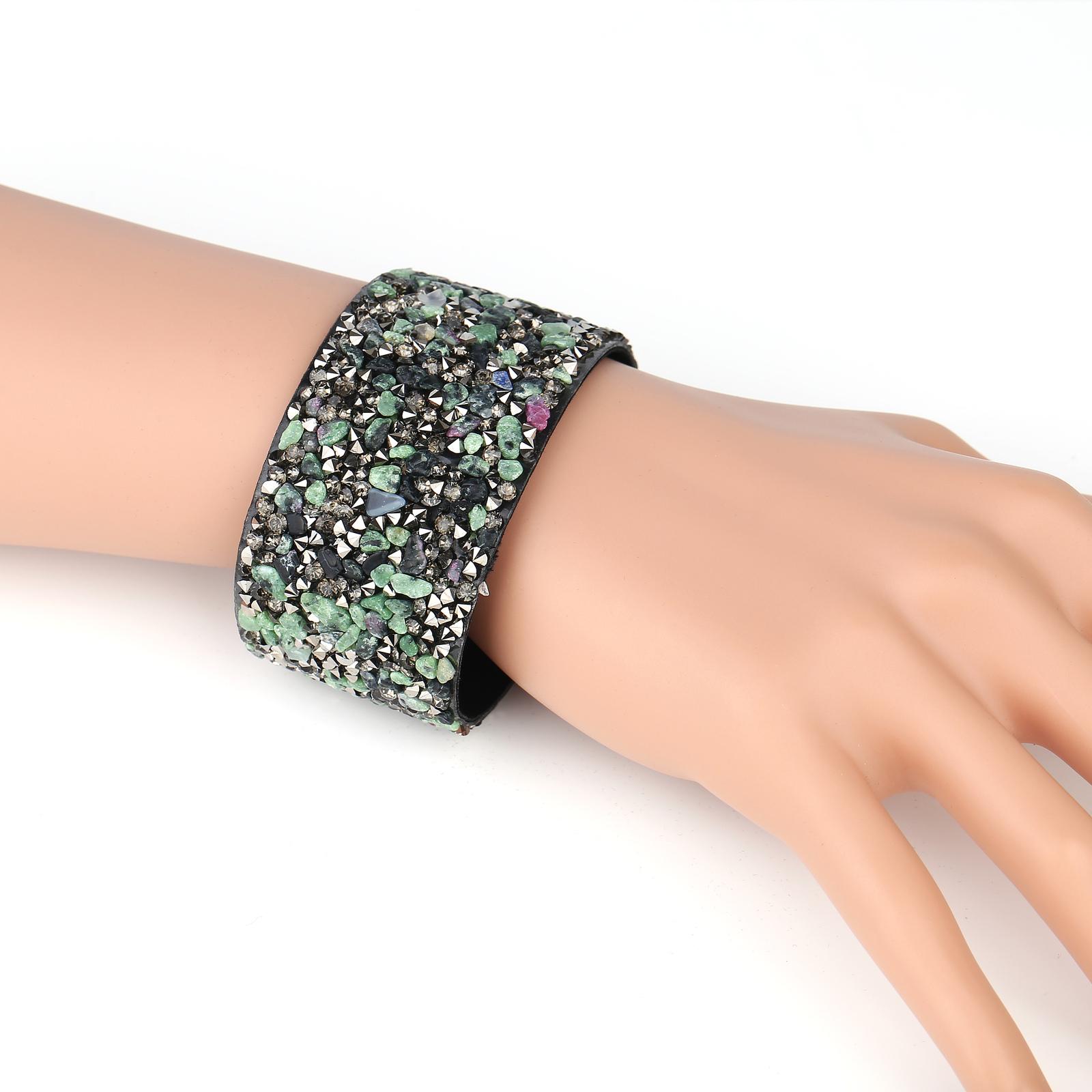 UNITED ELEGANCE Stylish Cuff Wristband With Stones & Swarovski Style Crystals