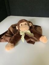 BEARINGTON BABY Giggles Monkey Brown Snuggler Security Blanket Lovey Dot... - $29.69