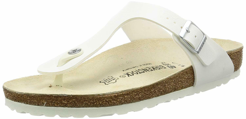 Brandneu Original Birkenstock Gizeh BS Weiß Damen Riemen Sandalen