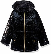 Limited Too Girls' Toddler Crushed Velvet Anorak with Sequins, Black, 3T