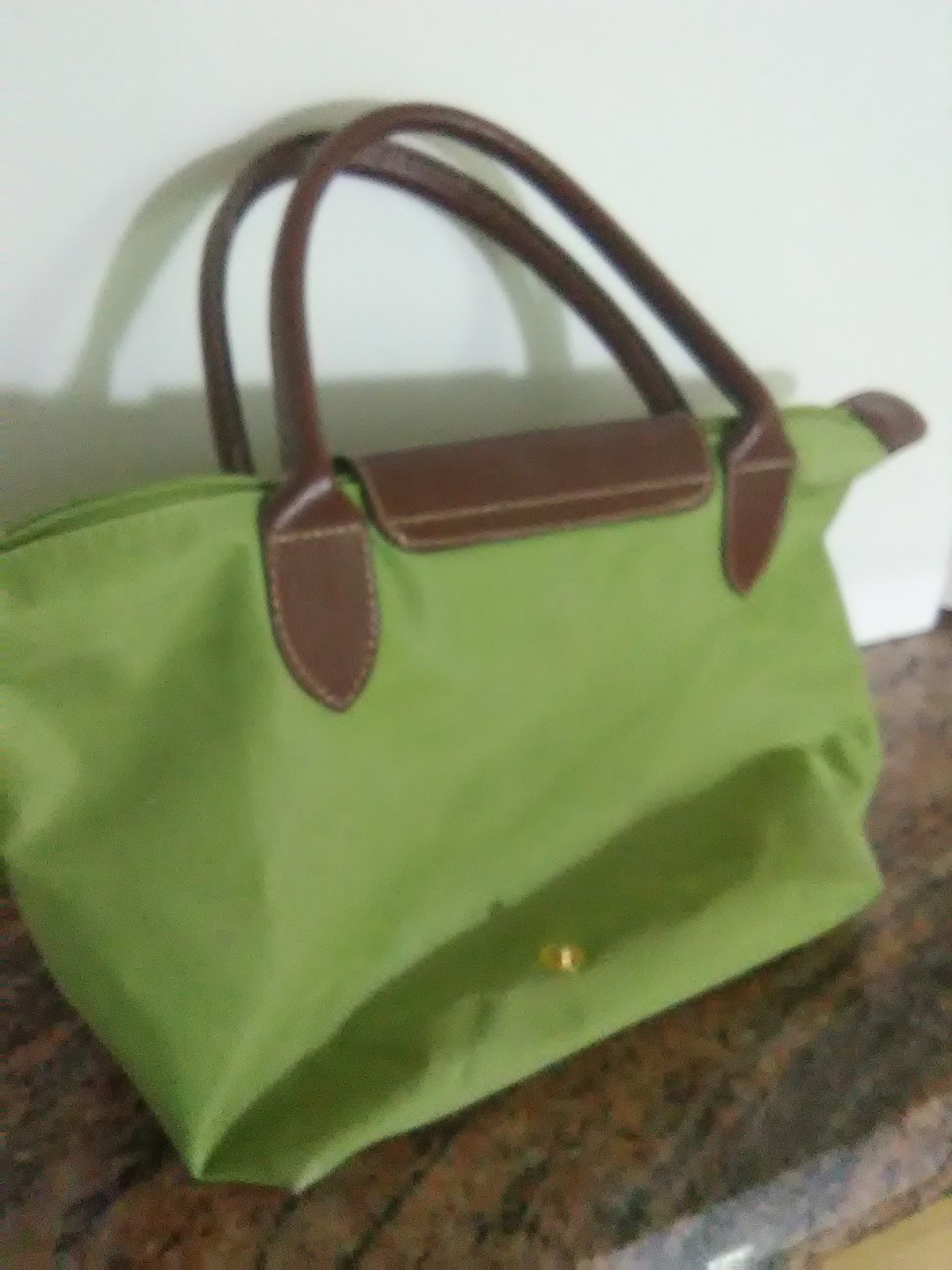 "Longchamp Le Pliage Type ""M"" Modele Depose Green Nylon Small Tote Bag"