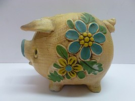 Vtg Retro Cute Yellow Blue Floral Flower Chalkware Pig Piggy Bank Sonsco - $24.99