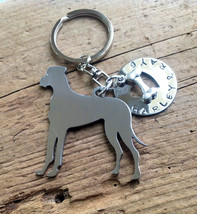 One Great Dane Dog custom keychain.  Personalized Your Dog's Name.  Pet Memorial - $18.00