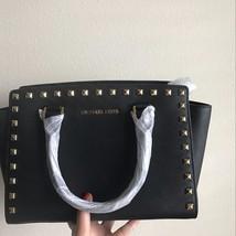 NWT Michael Kors MK Selma Studded Leather Medium Top Zip Satchel Black  - $148.49