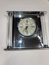 Bulova The Pearl Dial Silver Clock B2454 Solid Metal Case with Octagon Post - $109.77
