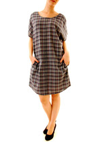 Sundry Women's Casual Short Sleeve Plaid Dress Blue Size US 1 RRP $127 B... - $88.10