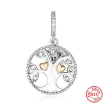 925 Sterling Silver Family Tree Necklace Clear Cubic Zirconia Gold Heart... - $321,45 MXN