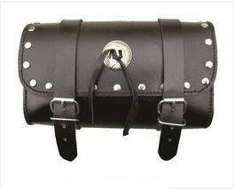 """10"""" Black Studded Real Cowhide Leather Tool Bag W/ Concho For Harley Davidson - $39.23"""