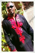 Odeneho Wear Men's Black Linen Top &Bottom /Red Embroidery.African Clothing. - $129.99