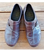 Clarks Size 9.5 Wave Women's Slip On Walking Comfort Clogs Brown Leather... - $24.22