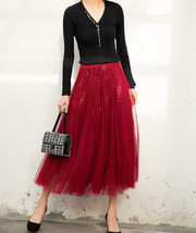 Wine Red Long Tulle Sequin Skirt High Waisted Red Christmas Holiday Skirt Outfit image 3