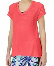 Calvin Klein Performance Women V-Neck Burnout Yoga Tee Pink Neon Size S ... - $10.28