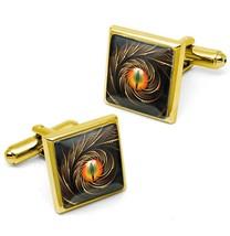 Gold Sci-fi Dragon Creature Eyeballs Glass New Age Gypsy Cufflink Set w/... - $32.39