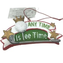 Golfer Sports Christmas Ornament Anytime Is Tee Time Gift Bag Decor - $14.11