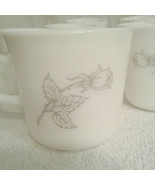 Vintage Corning SOLITARY Flat Coffee Cups mugs Gray Grey Rose Lot Of 7 C... - $15.00
