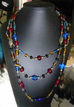 Vintage Glass & Metal Bead Triple Necklace Strand - $12.99