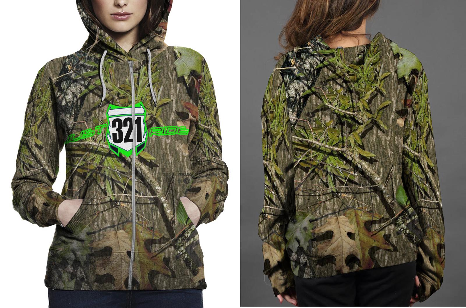 Just ride 321 realtree ap camo hoodie fullprint zipper women