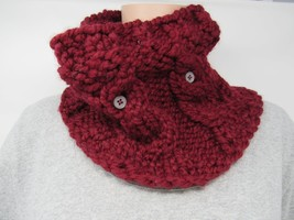 Handcrafted Knitted Cowl Wrap Cranberry Acrylic/Wool Owl Buttons Female ... - $44.36