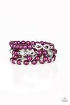 "Paparazzi Jewelry, ""Limitless Luxury"" Silver/Purple Pearls Infinity Brac... - $4.99"