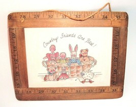 """Country Friends Are Best Vintage Sign Plaque Yardstick frame """"MiMi"""" prin... - $7.87"""