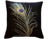 Pillow Decor - Peacock Feather 19x19 Throw Pillow