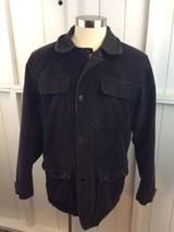 Nautica Mens Corduroy Jacket L Large Chocolate Brown Leather Collar Line... - $39.59