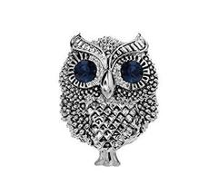 Retro Small Owl Brooches Business Suit Blouse Pins SILVER