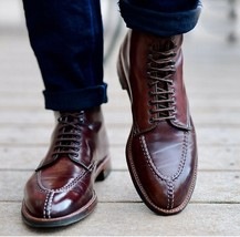 Handmade Men Maroon Leather Laceup Boots image 1