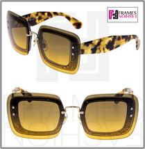 MIU MIU REVEAL 01R Sunglasses MU01RS Transparent Orange Brown Glitter Tortoise - $244.53