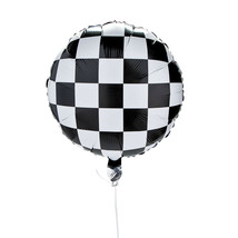 3 Black White Racing Checkered Mylar Balloons BIRTHDAY PARTY DECORATION ... - $7.49