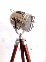 Vintage Industrial Design Chrome Spot Searchlight Nautical Tripod Studio... - $92.57