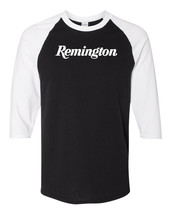 Remington Script White Logo Raglan Baseball T Shirt Pro Gun Rights Black... - $19.79+