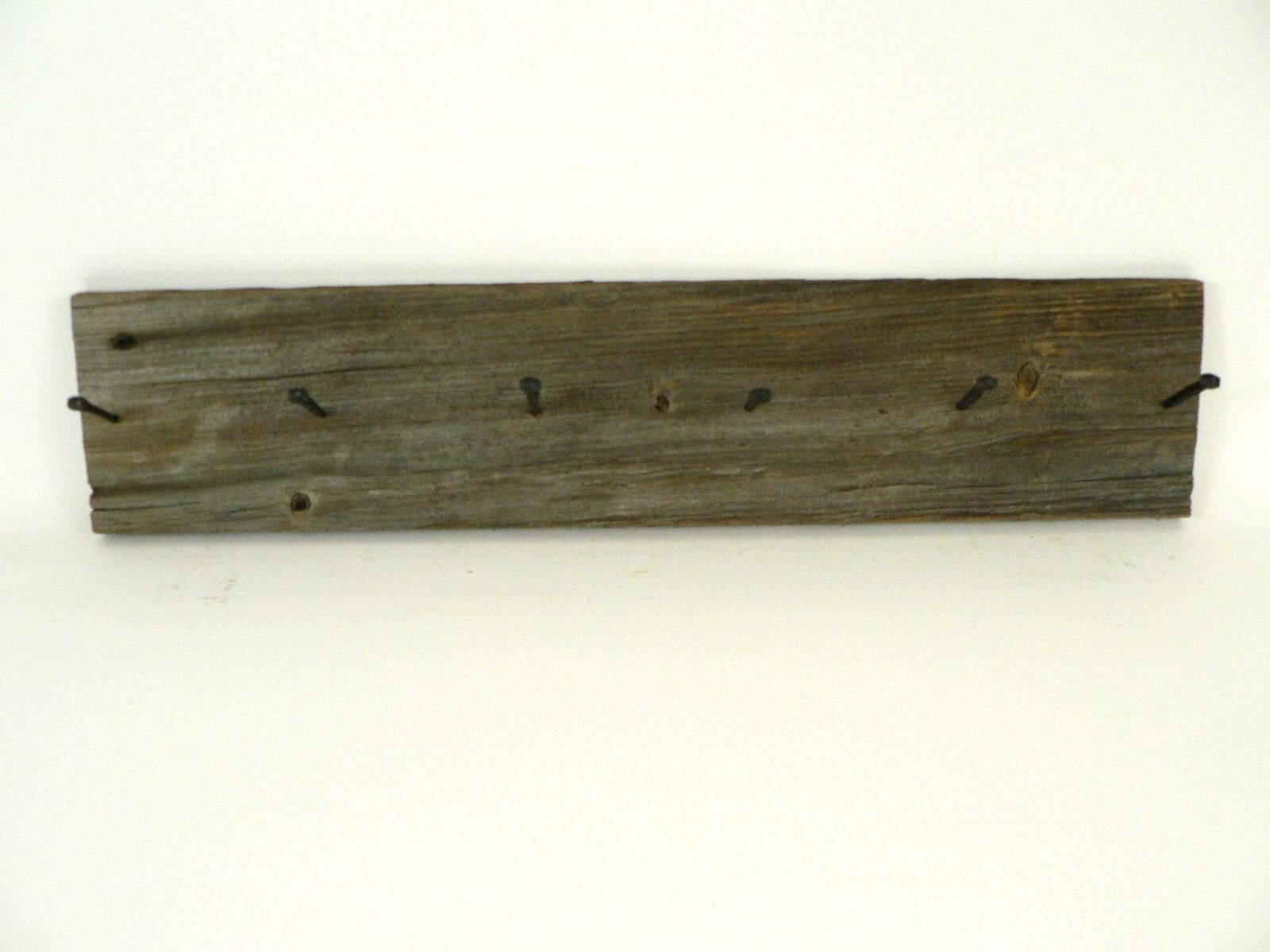 Primary image for VTG/Antique Reclaimed Brown Barn Wood Rustic Coat Rack Black Nails Weathered