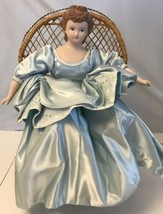 Vintage Doll Porcelain And Felt Cloth Sitting On Chair - $14.85