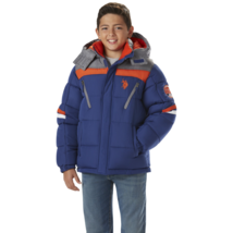 U.S. Polo Association Boys Hooded Bubble Jacket Blue / Orange 7 #NJTNN-748 - $29.99