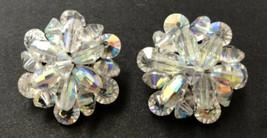 Vintage Flower Cluster Clear Crystal Bead Clip Earrings - $9.89