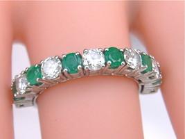 VINTAGE 1.25ctw DIAMOND .70ctw EMERALD PLATINUM ½ ETERNITY BAND RING 197... - $2,375.01