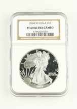 2004 W Proof $1 American Eagle 1 Oz Silver Flawless Ngc Pf 69 Ultra Cameo Coin - $95.04