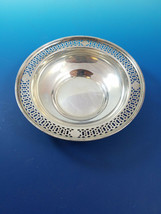 """Sterling Silver Candy Bowl with Cut Out Design around Edge 5 1/2"""" Diameter - $175.00"""