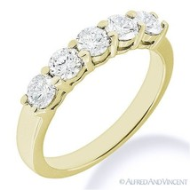 Round Cut Forever Brilliant Moissanite 14k Yellow Gold 5-Stone Band Wedd... - €440,60 EUR+