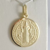 Pendant Yellow Gold Medal 750 18k, Protection, ST. BENEDICT, CROSS, SOLID image 4