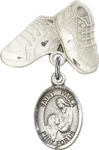 Sterling Silver Baby Badge with St. Paula Charm and Baby Boots Pin 1 X 5/8 inch - $59.33