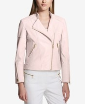 Calvin Klein Womens Faux-Leather Moto Jacket Blush Size Small - $139.50
